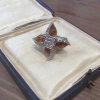 Cirkónia köves ezüst gyűrű tűzzománccal