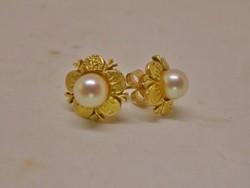 Elegáns régi valódi  gyöngy arany fülbevaló