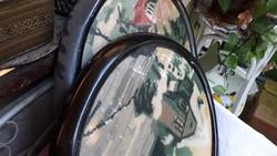 2db régi ovális keret goblennel
