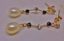 Szép valódi kék,fehér zafír,gyöngy aranyfülbevaló