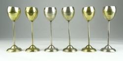 0S825 Régi ezüstözött réz stampedlis pohár készlet