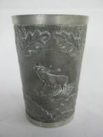 Vadászos szarvas fácán vaddisznó díszítésű ón pohár