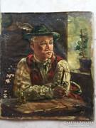 A pipázó... festmény, olaj/vászon