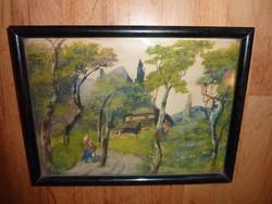 Meseszerű erdei tájkép, régi akvarell, jelzés nélkül