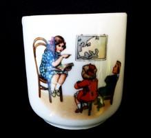 Régi gyermekéletkép jelenetes csésze