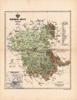 Komárom megye térkép 1888, Magyarország, vármegye, atlasz, Kogutowicz Manó, 43 x 56 cm, eredeti
