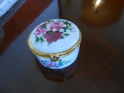 Porcelán ékszertartó dobozka, kerek, rózsás