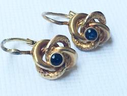 Antik 14K Sárga Arany Fülbevaló Kék Zafirral