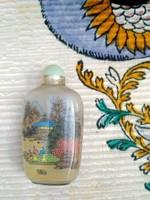 Kínai belülről festett üveg szelence ásvány kupakkal