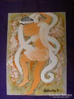 Tomboló, táncoló ördög-angyal, Lehoczky József ötletvázlata, tempera, papírrajzlapon: 42 29 cm