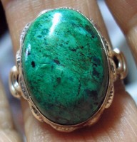 925 ezüst gyűrű, 17,9/56,2 mm  krizokolla drágakővel