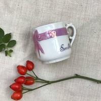 Szecessziós emlékcsésze (kávés) lüsztermázzal, masnival az elején