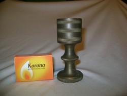 Tömör réz gyertyatartó, kupa - 35 dkg, 8,8 cm magas