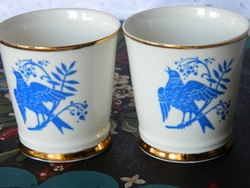Lomonosov porcelán vodka pohár 2 db, kék madár design 22 kr. arany
