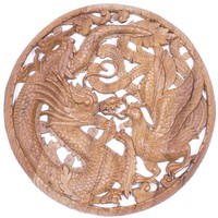 Sárkány és főnixmadár áttört fafaragás, falidísz, falikép – 60x60cm