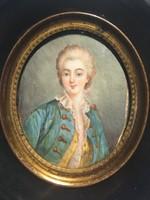 Rokokó Fiatalúr Portré Miniatür Nyugat-Európa XVIII. sz. Antik