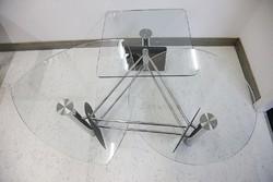 Üveg, króm dohányzóasztal