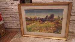 Bóka Dezső : Napos őszi táj akvarell festmény