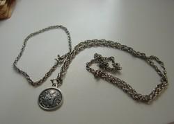 Antik ezüst 925 vallási szett: medál ezüst láncon+karkötő