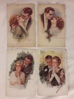 Antik elbűvölő képeslap négy darab