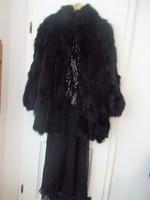 Szebbnél szebbek molett nálam fekete róka bunda luxus darab 44 46  110 mell 130 csípő 99 hosszú