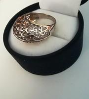Szecessziós ezüst kosaras gyűrű