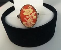 Csodaszép korall köves ezüst gyűrű