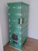 ART-DECO nagyméretű türkíz / gyöngyházfényű cserépkályha Gmundenből