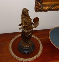 Táncoló lány szecessziós bronz szobor 35 cm magas