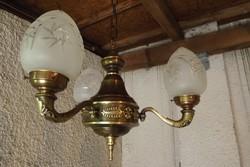 """Felújított antik réz 3ágú csillár """"kicsi-barokk"""""""