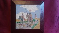 MOZAIK HATÁSÚ BŐR FALIKÉP KÉZZEL FESTETT 22 x 22 cm DON QUIJOTE IPARMŰVÉSZ ÁLTAL KÉSZÍTETT