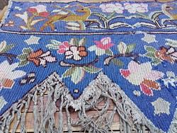 Antik kelim szarvasos és virágos falvédő,drapéria,falikép