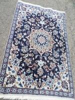 Iráni Nain gyönyörű kézi csomózású gyapjú-selyem szőnyeg 145cm x 88cm