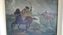 """Korda Béla : """" ......Hortobágyon """"  1932  - olajfestmény, Nemzeti Szalon"""