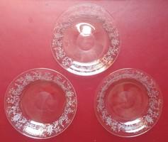 Antik csiszolt üveg kistányérok - 12,5 cm. átmérő - üveg