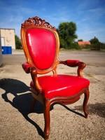 Gyönyörű faragott barokk bőr fotel