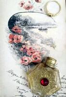 Antik, réz kupakos, díszes parfümös üvegcse