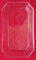 Antik csiszolt üveg tálka - 2,5 x 10 x 17 cm.