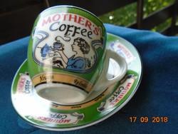 """""""Mother's coffee"""" gyűjteményes retro mokkás kávés csésze alátéttel"""