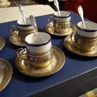 Antik ezust/porcelan kaves keszlet dobozal