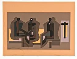 Barcsay Jenő - Gyász 37 x 48 cm színes szita