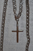 Masszív ezüst nyaklánc kereszt medállal