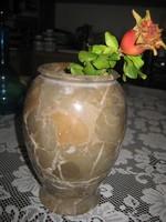 Esztergált , márvány  ,asztali  váza , 12 x 18,5 cm