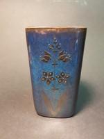 Gustavsberg sweden kék váza ezüst rátéttel