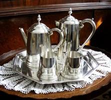 Gyönyörű, Sheffield, csillogó felületű, ezüstözött tea és kávé szervírozó készlet, elegáns tálcán