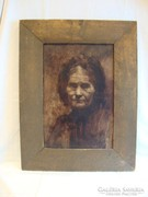 Török (J?) női portré régi festmény
