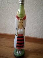 Különleges formájú, kézzel festett üveg - palack - borosüveg
