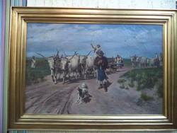Cserna Károly Négyökrös fogatok hazafelé a mezőröl  Hagyatékból