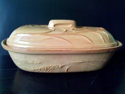Terrakotta mázas kerámia 40 cm x 26 cm sütő - főző cserépedény fedéllel nagy méretű