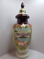 GYÖNYÖRŰ, HATALMAS!!! Kézzel festett hibátlan antik tejüveg fedeles váza, amfóra az 1800-as évekből
